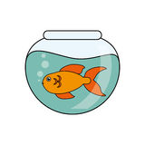 Fish animal cartoon inside bowl design. Fish animal cartoon inside bowl icon. Sea life ecosystem fauna and ocean theme. Isolated design. Vector illustration Royalty Free Stock Image