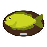 Fish animal cartoon over table design. Fish animal cartoon over table icon. Sea life ecosystem fauna and ocean theme. Isolated design. Vector illustration Stock Photos