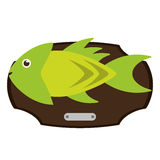 Fish animal cartoon over table design. Fish animal cartoon over table icon. Sea life ecosystem fauna and ocean theme. Isolated design. Vector illustration Stock Images