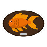 Fish animal cartoon over table design. Fish animal cartoon over table icon. Sea life ecosystem fauna and ocean theme. Isolated design. Vector illustration Royalty Free Stock Photos