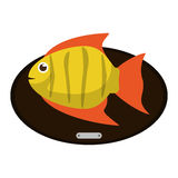 Fish animal cartoon over table design. Fish animal cartoon over table icon. Sea life ecosystem fauna and ocean theme. Isolated design. Vector illustration Stock Photography