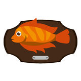 Fish animal cartoon over table design. Fish animal cartoon over table icon. Sea life ecosystem fauna and ocean theme. Isolated design. Vector illustration Stock Photo