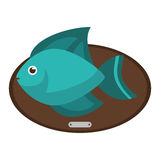 Fish animal cartoon over table design. Fish animal cartoon over table icon. Sea life ecosystem fauna and ocean theme. Isolated design. Vector illustration Royalty Free Stock Image