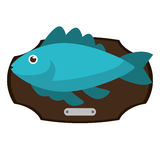Fish animal cartoon over table design. Fish animal cartoon over table icon. Sea life ecosystem fauna and ocean theme. Isolated design. Vector illustration Royalty Free Stock Photography
