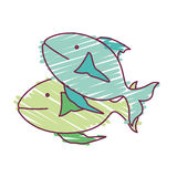 Fish animal design. Colorful fish animal icon over white background. sketch and draw design. vector illustration Stock Photo