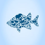 Fish an animal. Fish made of animals. A vector illustration Stock Photography