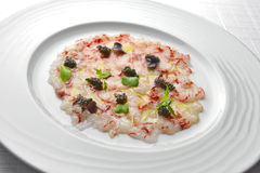 Fish Appetizer Carpaccio of Red Prawns and Caviar 1 Stock Image