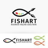 Fish art  logo design. Paint, painting, print, studio  logo template Royalty Free Stock Photos