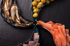 Fish assortment and olives on magic plates on a dark background Royalty Free Stock Photography