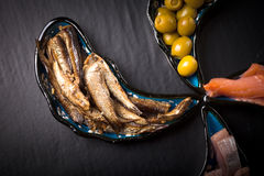 Fish assortment and olives on magic plates on a dark background Royalty Free Stock Image