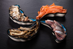 Fish assortment on a plate on a dark background Stock Photo