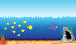 Fish attack. Fishes have become angry and have decided to revenge a malicious shark Stock Image