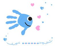 Fish with baby hand prints vector background Stock Image