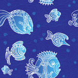 Fish on a background. Abstract fishes in decorative style. Pattern Stock Photography