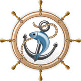 Fish on background of an anchor and wheel. Vector Vector Illustration