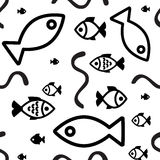 Fish background. Fish icons or signs seamless pattern or background Stock Photos