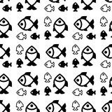 Fish background. Fish icons or signs seamless pattern or background Royalty Free Stock Photo