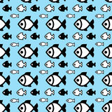 Fish background. Fish icons or signs seamless pattern or background Stock Image