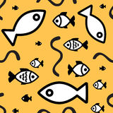 Fish background. Fish icons or signs seamless pattern or background Royalty Free Stock Images