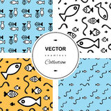 Fish background. Fish icons or signs seamless pattern set. background collection Royalty Free Stock Photo