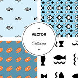 Fish background. Fish icons or signs seamless pattern set. background collection Stock Photo