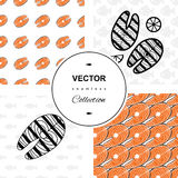 Fish background. Fish icons or signs seamless pattern set.  background collection Stock Photography