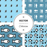 Fish background. Fish icons or signs seamless pattern set.  background collection Royalty Free Stock Photos
