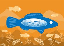 Fish on background sea floor with an abstract representation of the world. Fish on the background of the sea floor with an abstract representation of the world Royalty Free Stock Photo