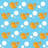 Fish background vector. Seamless pattern of funny fish with dots. Fish background. Seamless pattern of fish on light background - Vector illustration Royalty Free Stock Photography