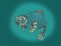 Evil fish.Thick angry fish. Fish in a bad mood, evil and wild. Drawing in cartoon style Royalty Free Stock Photography