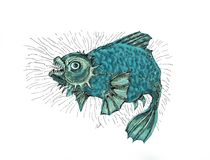 Evil fish.Thick angry fish. Fish in a bad mood, evil and wild. Drawing in cartoon style Royalty Free Stock Photos