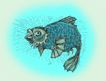 Evil fish.Thick angry fish. Fish in a bad mood, evil and wild. Drawing in cartoon style Royalty Free Stock Image