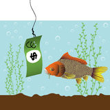 Fish bait. Abstract colorful illustration with fish watching a green dollar bill dropped in the water as a bait Stock Image