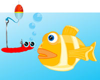 Fish and bait on hook Royalty Free Stock Images