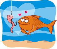 Fish and bait in love. Cartoon illustration of fish in love with the worm bait in hook Royalty Free Stock Images