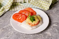 Fish baked with cheese and tomatoes on a white plate Stock Photography