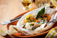 Fish baked in parchment paper Royalty Free Stock Photography
