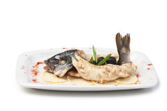 Fish baked in pastry with olives Royalty Free Stock Photos