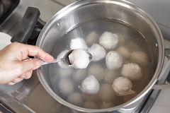 Fish ball. On the boiled water inside the pan Stock Images