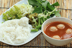 Fish ball curry coconut soup with rice noodles Royalty Free Stock Photos