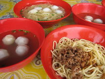Fish Ball Noddle soup. Fish ball  noodle soup in Ipoh, Malaysia Stock Photo