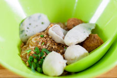 Fish ball noodle; Asian food cuisine. Royalty Free Stock Image