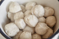 Fish ball. Piled inside the big bowl Stock Images