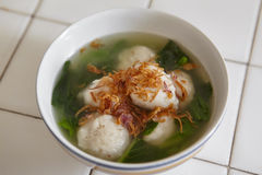 Fish ball soup. With green vegetable and fried shallot Royalty Free Stock Photography
