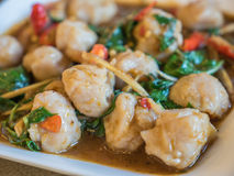 Fish ball stir fried Stock Images