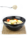 Fish ball with vegetable soup in bowl isolated on white backgrou Stock Images