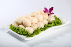 Fish ball with vegetables on plate royalty free stock photography