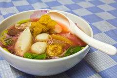 Fish balls. Noodles, fish balls in soup Stock Photography