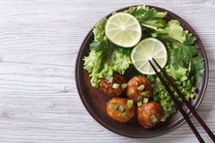 Fish balls in curry sauce on a plate top view of a horizontal Stock Photos
