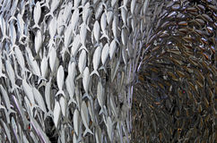 Fish bank. Modern art sculpture made of metal, in Copenhagen, Denmark royalty free stock image